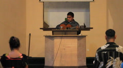 Local Man Singing at Community Gathering on Micronesian Island of Yap Stock Footage