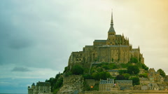 Mont Saint-Michel is a monastic building in France, time lapse - stock footage