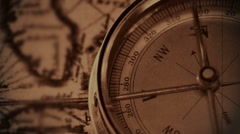 Map and compass old damaged film Stock Footage
