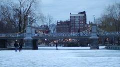 People in Boston Public Gardens Winter Stock Footage