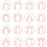 Sketch icons collecion of different types arch - stock illustration