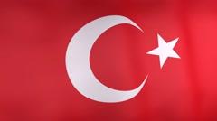 3d turkey national flag. Stock Footage