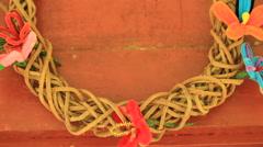Local Handmade Wreath on Micronesian Island of Yap Stock Footage