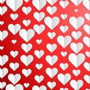 Valentines Day background with paper hearts Stock Illustration