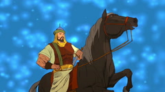 Cartoons Fighter on Horse Stock Footage