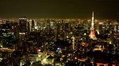 4K -Time Lapse of Tokyo Skyline at Night - Tokyo Japan Stock Footage