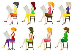 Faceless ladies sitting down Stock Illustration