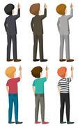 Six faceless bachelors writing - stock illustration