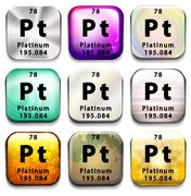 Stock Illustration of A periodic table button showing the Platinum