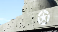 US Tank bullet holes - rack focus - stock footage