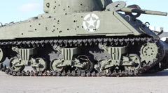 US tank side profile with bullet holes - stock footage