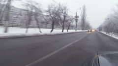 Car goes on  winter city. Capital of Ukraine, Kiev Stock Footage