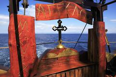 Excursion on a yacht at Mount Athos. - stock photo