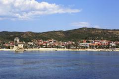Ouranoupoli on coast of Athos in Greece. Stock Photos