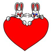 A pair of white rabbits satisfied - stock illustration