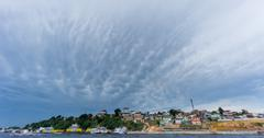 Ultra wide angle of Manaus with cloudy sky, Amazon - stock photo