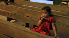 Young Girl at Community Gathering on Micronesian Island of Pohnpei Stock Footage