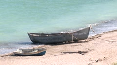 Idilic fisherman boats on shore.mp4 Stock Footage