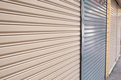 roller shutter door of front gate store - stock photo