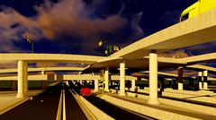 Under the highway. Urban scene Stock Illustration