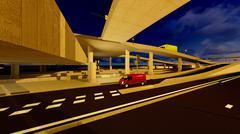 Under the highway. Urban scene - stock illustration