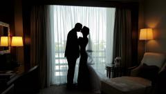 Bride and groom kiss Stock Footage