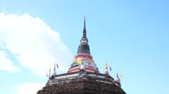 Thai pagoda in wat ratchaburana, phitsanulok, thailand (time lapse) Stock Footage