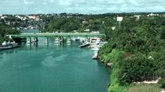 Dominican Republic La Romana Caribbean Sea 035 river mouth with bridge Stock Footage