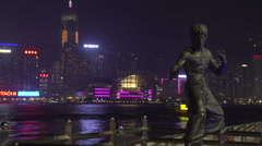 Martial artist and movie star Bruce Lee's sculpture in Avenue of Stars Hong Kong Stock Footage