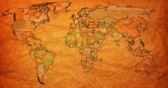 cambodia territory on world map - stock illustration