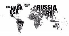 Word cloud of world map in 4k resolution Stock Footage