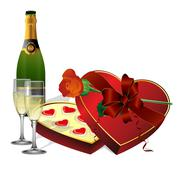 With holiday sweets, champagne and flowers roses Stock Illustration
