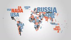 Colorful word cloud of world map in 4k resolution Stock Footage