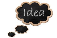 idea written on a thought bubble shaped blackboard - stock illustration