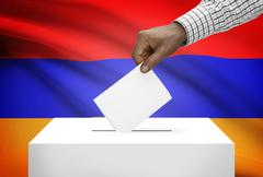 Ballot box with national flag on background - armenia Stock Photos
