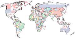 Stock Illustration of kirgistan territory on world map