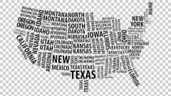 Word cloud of the United States map with alpha channel in 4k resolution Stock Footage