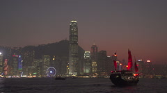 Cheung Po Tsui Pirate crossing Victoria Harbour Hong Kong Island And Kowloon Stock Footage