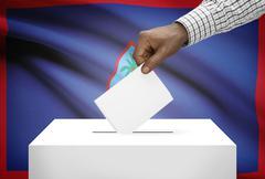 ballot box with national flag on background - guam - stock photo