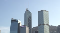 Bank of China and Cheung Kong Centre Commercial Centre Skyline Hong Kong Stock Footage