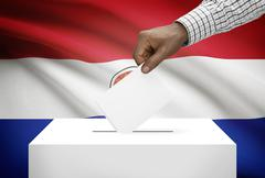 ballot box with national flag on background - paraguay - stock photo