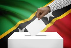 Ballot box with national flag on background - saint kitts and nevis Stock Photos