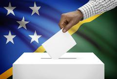 ballot box with national flag on background - solomon islands - stock photo