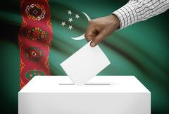 ballot box with national flag on background - turkmenistan - stock photo