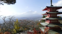 Image of the sacred mountain of Fuji in the background of blue sky Stock Footage
