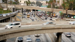View of Traffic on Busy Freeway in Downtown Los Angeles Stock Footage