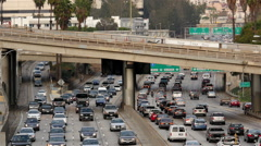 View of Traffic on Busy Freeway in Downtown Los Angeles - stock footage