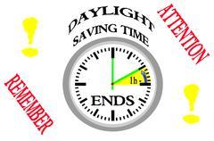 Daylight saving time ends. Stock Illustration