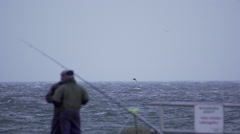 Fishermen in stormy Baltic Sea Germany 3 Stock Footage