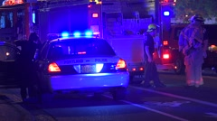 Police And Fire At Emergency Scene At Night With Lights Flashing - stock footage